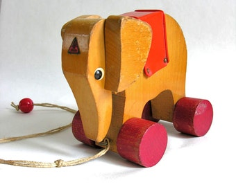 Wooden elephant pull toy vintage - Haba Germany '60s - 1960