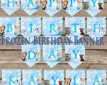 Custom Frozen Birthday Banner! Plus Freebie! Digital Download! Frozen Princess birthday!