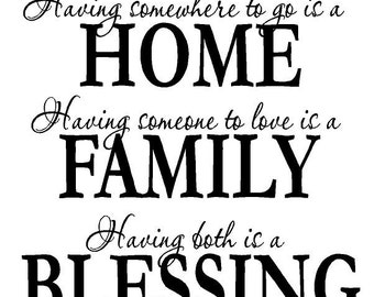 Home, Family, Blessing Decal