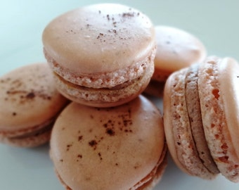 24 Gourmet Cappuccino-Nutella French Macarons-Macaroons gluten free cookies,handmade,artisan,coffee,chocolate,easter,wedding,birthday party