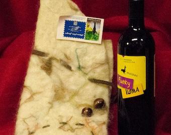 Alpaca wet felted hand made wine cozy.