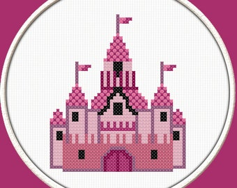 Princess Castle  - PDF Downloadable Printable Cross Stitch Pattern