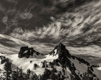 Landscape Photography, Mountain Peaks, Dramatic Sky, Cascade Mountains, Mount Rainier National Park, Wall Art, Home Decor