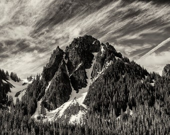Landscape Photography, Cascade Mountains, Summer, Mount Rainier National Park, Fine Art Black and White Photography, Wall Art, Home Decor