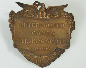 Antique Olympic Pin from Paris / 1919 / Inter- Allied Games / Pre-Olympics / Pershing Stadium