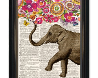 Elephant dictionary art print. Paisley flowers upcycled vintage dictionary page book art print 8x10inch. Buy any of our 3 prints get 1 free!