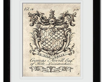 18th century heraldry coat of arms-family crests art print. No.5 in a collection of six art prints. Buy 4 get 2 FREE, buy 3 get 1 free!