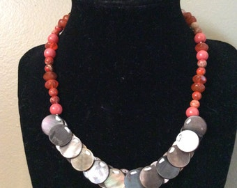 Coral Button Necklace