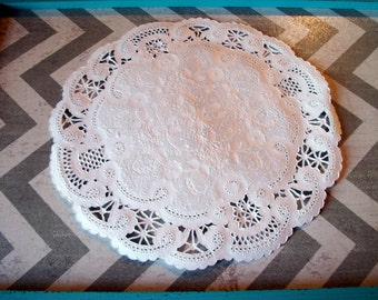 "5"" Inch Fancy French Lace White Paper Doilies - Set of 50 , Paper Doily"