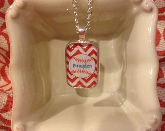 Baseball Glass Pendant Necklace Personalized