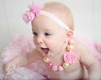 Pink and Ivory Chunky Necklace, Toddler Necklace, Pink and Ivory Baby