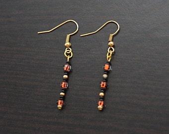 Tigress Orange/Gold/Black Earrings