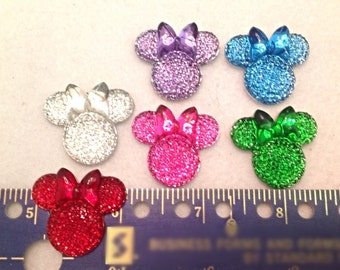 6 Mouse Ears, Sparkling Resin Flatbacks,
