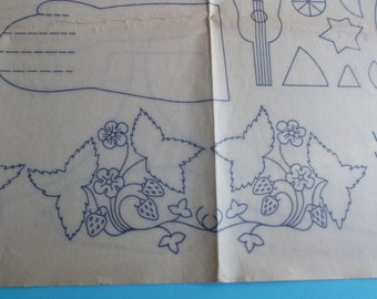 Iron-on Embroidery Transfers of Strawberries and Doll Sewing Pattern.