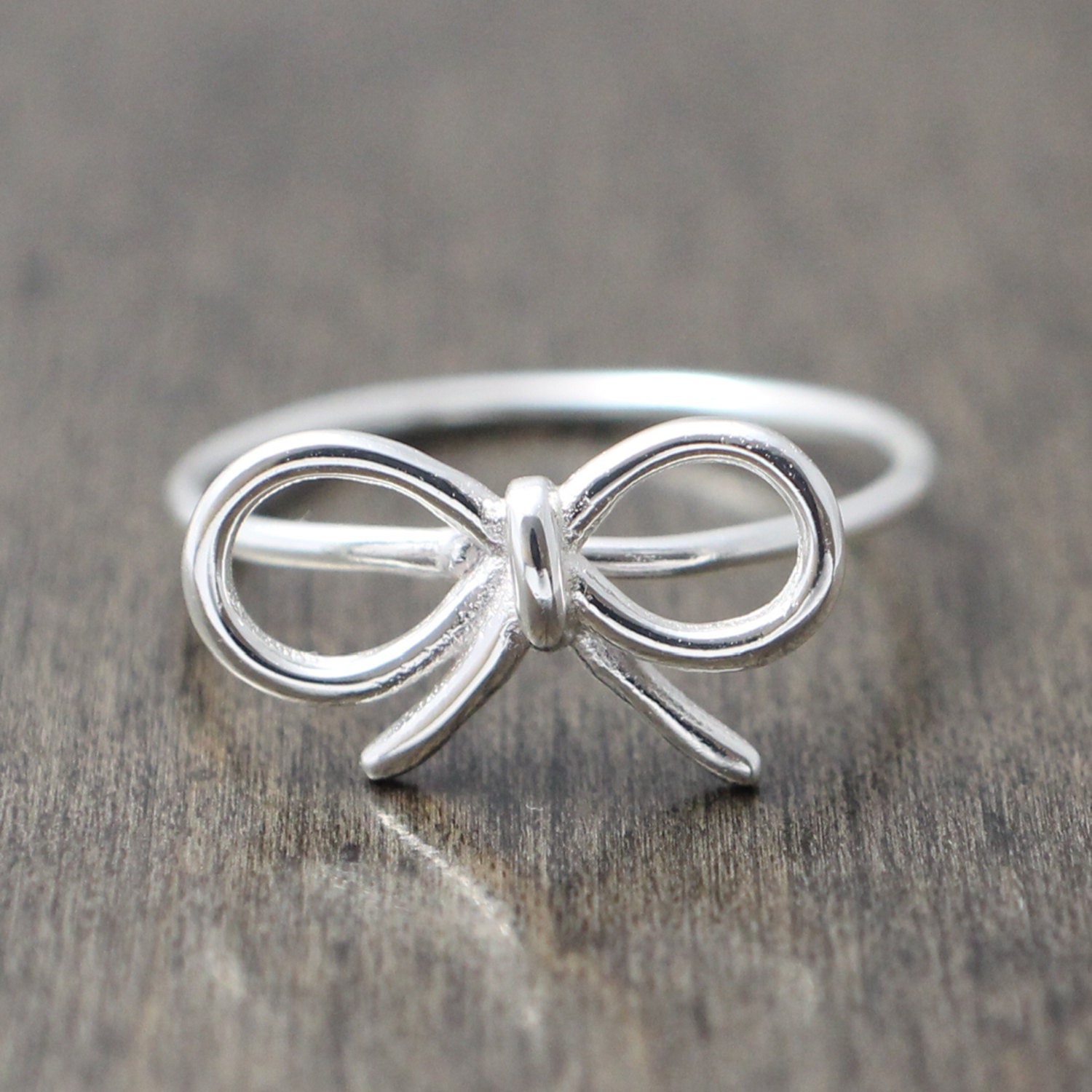 925 sterling silver ribbon bow ring promise by