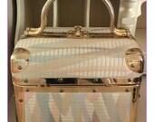 Borsa Bella Vintage Train Case Soft Pastels Tapestry Fabric