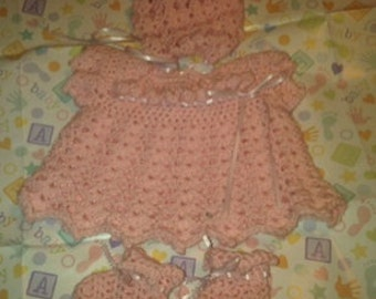 Bringing Home Baby Girl Dress with Bonnet and Booties