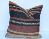"18""x18'' Handwoven Kilim Pillow Throw Pillow kilim cushion cover decorative throw pillows turkish kilim pillows ethnic wool sham"