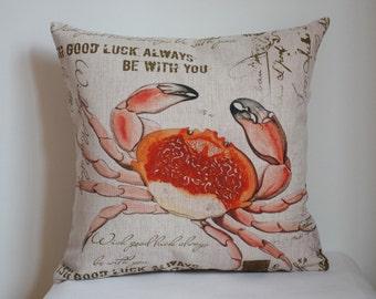 vintage Crab pillow, Crab pillow cover, nautical Crab pillow cover