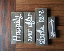 Happily ever after starts here sign Wedding Sign Rustic Wood Signage Church Yard Decor Wedding Reception Signage Entrance Sign Country Sign