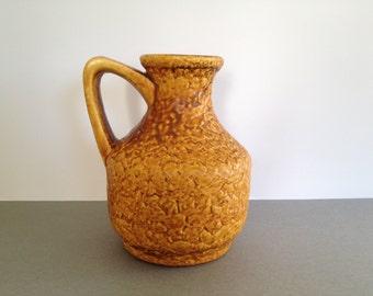 Bay  Keramik 215- 17  designer :  Bodo Mans,  Vintage Mid Century  yellow vase West Germany. WGP.