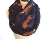 Infinity scarf - Circle scarf, Eternity scarf, Tube scarf, Loop scarf, Fox Scarf - Navy Blue Scarf