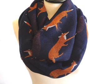 Infinity scarf - Circle scarf, Eternity scarf, Tube scarf, Loop scarf, Fox Scarf - Navy Blue Scarf