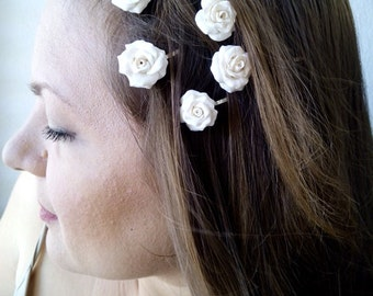Flower clips, Bridal hair clips, Wedding flower pins, White rose bobby pins - set of five, Bridesmaid Jewelry