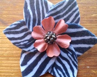 Chic Zebra Flower Hair Clip