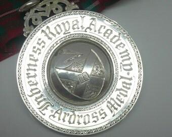Silver School Medal, Scottish Provincial, Inverness Royal Academy, Ferguson & Macbean, English Prize, c.1880, REF:220O