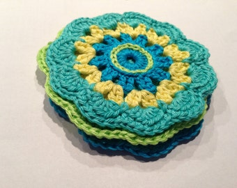Crochet pattern colored coasters