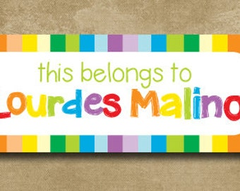 Daycare Name Labels - 30 Personalized Waterproof Stickers for School or Daycare.  Dishwasher Safe for baby bottles,Rainbow Stripes