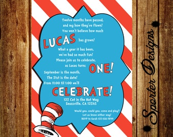 Dr. Seuss First Birthday Invitation - DIGITAL - 5x7