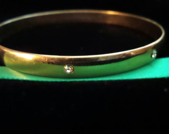 Gold Bangle-Style Bracelet with Crystals