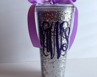 Personalized SILVER Glitter -22 Oz. Double Wall Acrylic Tumbler With Straw