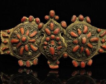 Antique original perfect coral belt buckle
