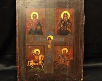 Antique original hand painted icon