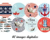 Digital collage sheet, digital images nautical design for pendant,  bottle cap, one inch circle sea boat anchor fish sea shells blue white