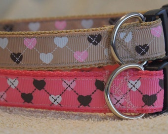 Adjustable Dog Collar - Argyle Hearts