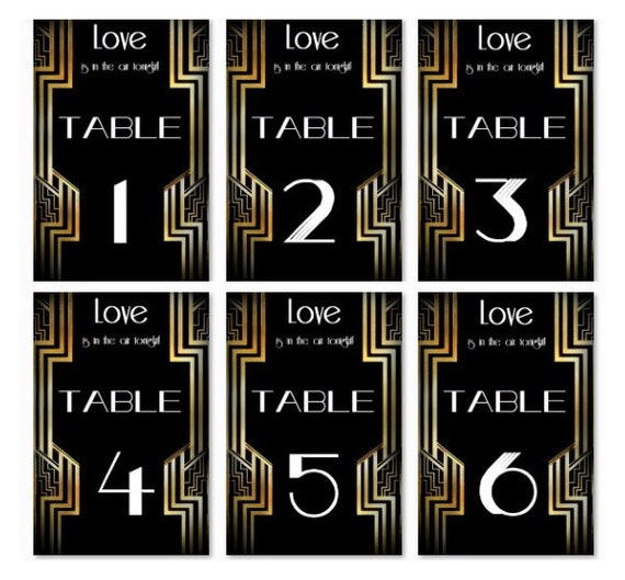 Numbers Wedding Decor Paper Goods Great Gatsby 1-20 set Printable ...