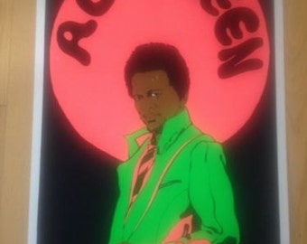 Al Green by Russell Black Light poster Original O.S.P. Los Angeles 1973