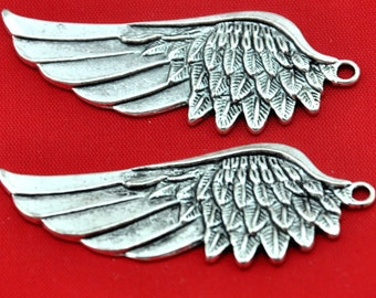 Wings - 8pcs Antique Silver Large Angels Wings Charm Pendants Thicken ----21*56mm--G385