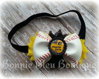PITTSBURGH PIRATES Leather Baseball Headband/Hair clip you choose picture