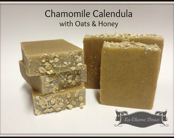 Unscented Chamomile Calendula with Oats and Honey Goat Milk Soap