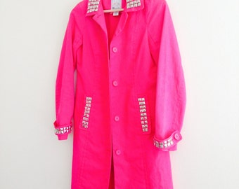 Hot Pink Hand Studded Trench Coat