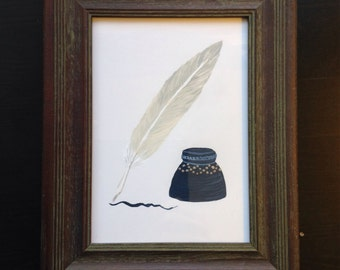 Miniature quill and ink well, hand painted - made to order