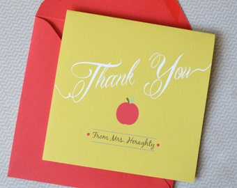 Personalized Teacher Thank You Cards - Set of 10