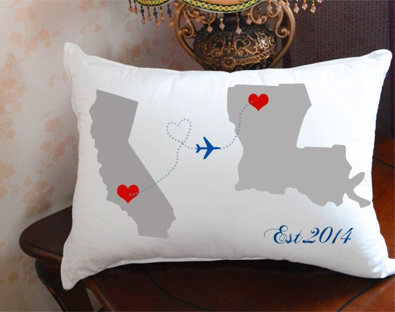 custom wedding pillowstate to state pillow coverpersonalized. Black Bedroom Furniture Sets. Home Design Ideas