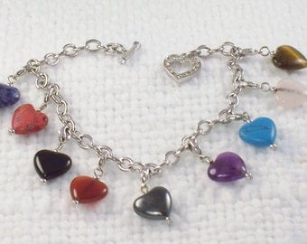 Vintage Nature Stone Hearts Charm Bracelet - 9 Hearts with Heart Toggle Clasp Hearts Charm Bracelet Gift for Her Sweetheart Gift