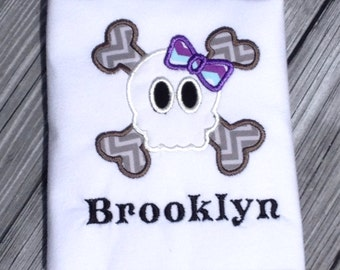 Girly Skull and Crossbones Personalized Shirt, Halloween, Bow. Haloween costume idea!